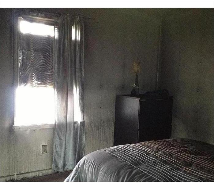 Fire & Smoke Damage to a Concord Bedroom Before