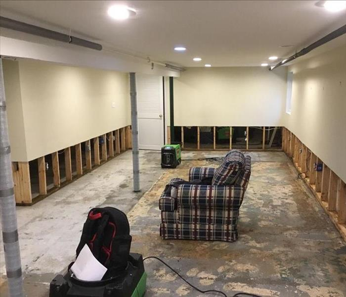 flood cuts in a basement finished