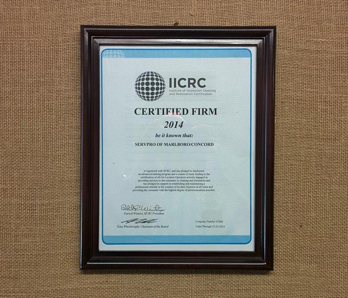 General SERVPRO of Marlboro/Concord Becomes an IICRC Certified Firm